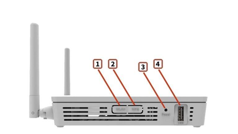 Оптический модем Huawei HG8245H - боковые кнопки и порты