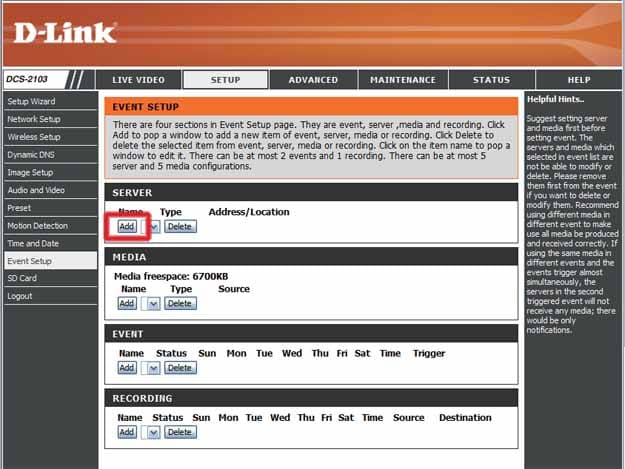Настройка D-Link DCS-2103 – вкладка add server