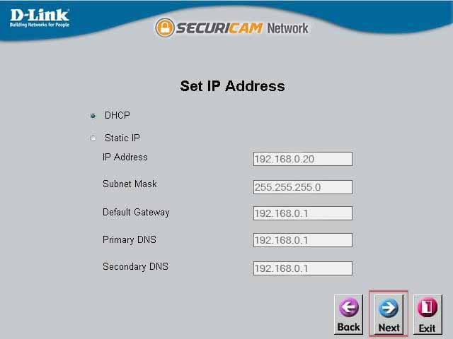 Setup Wizard - Set IP Address
