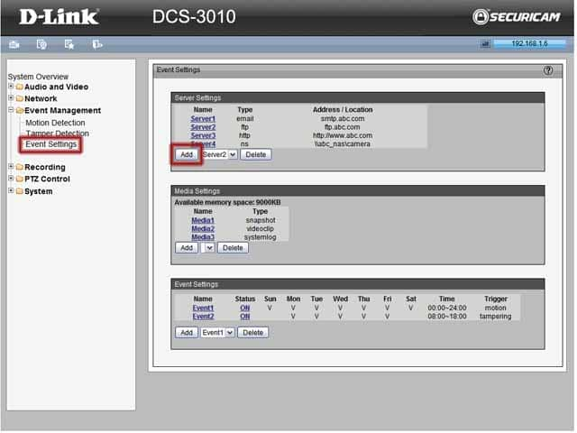 D-Link DCS-3010 – Event Settings