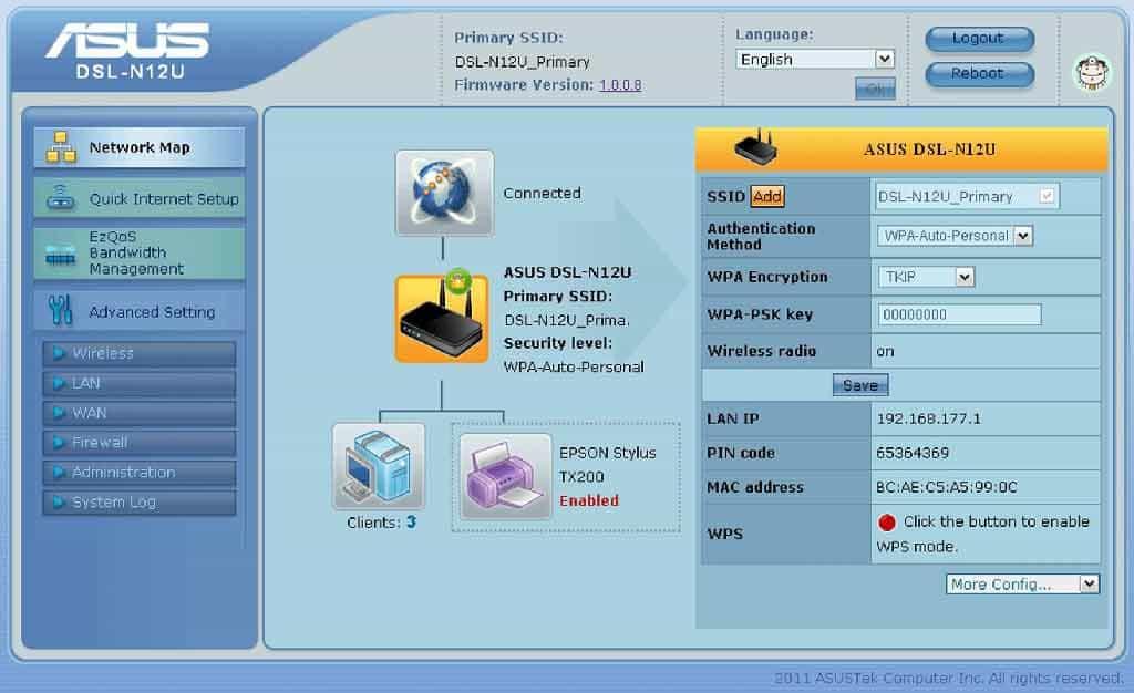 DSL-N12U – настройка карты сети